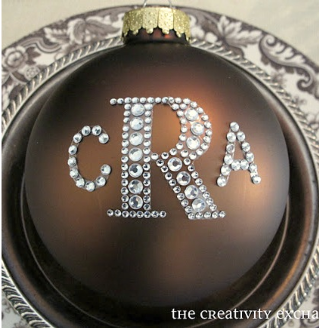 DIY Monogrammed Christmas Ornaments with Rhinestone Letters
