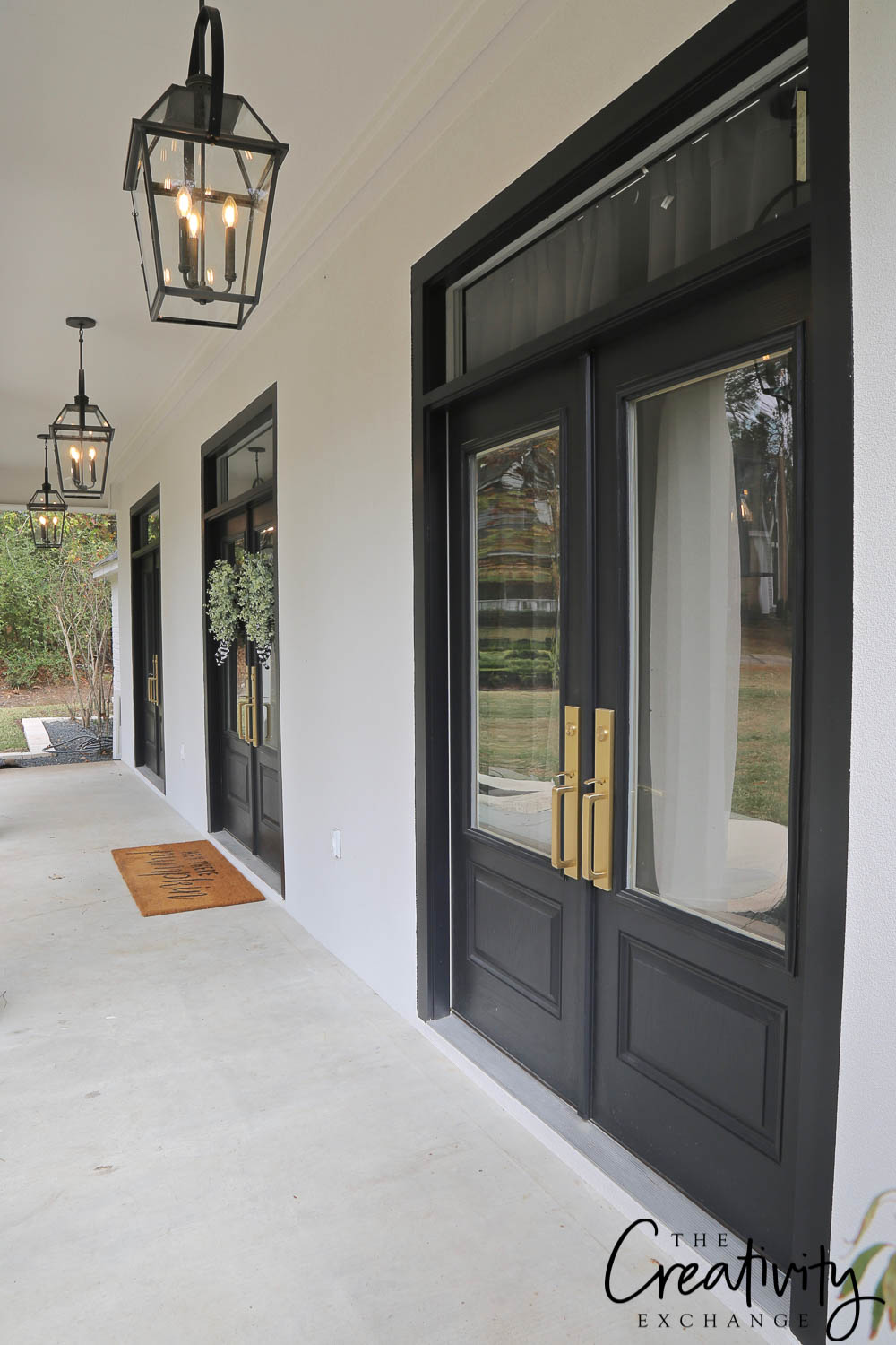 Double French Doors Across Front of Home