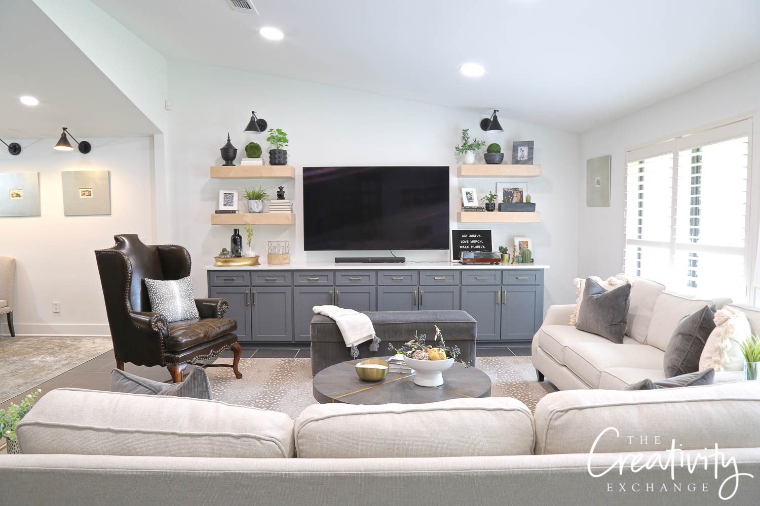 Living room with custom cabinetry
