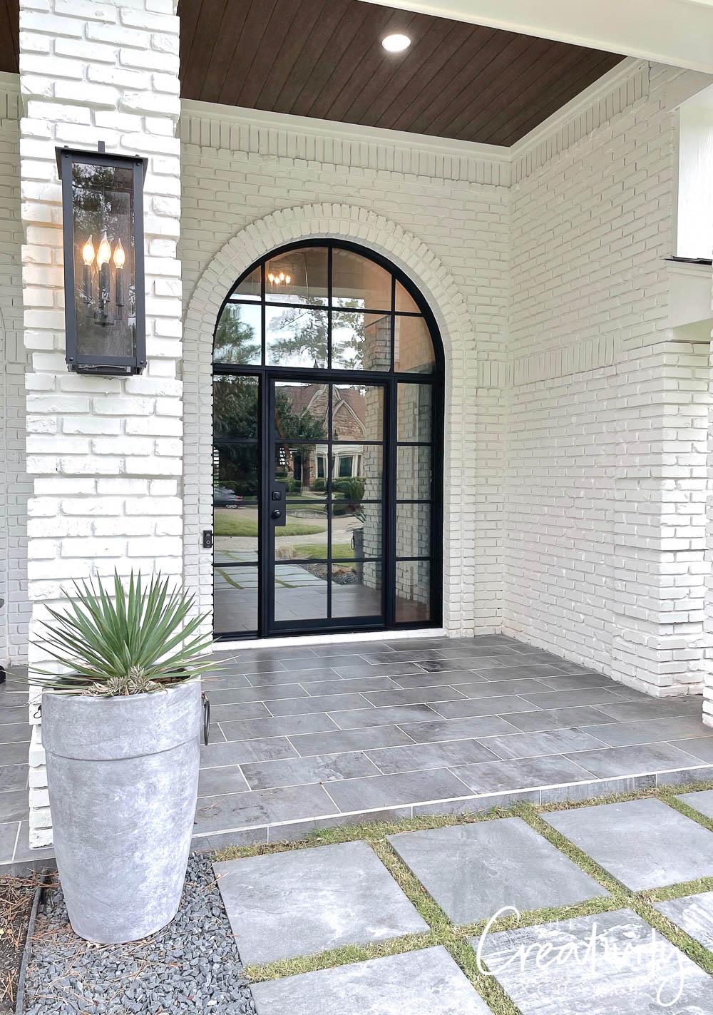 Arched grid steel front door