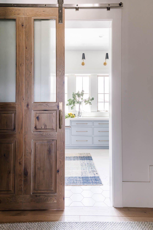 Natural wood pocket doors