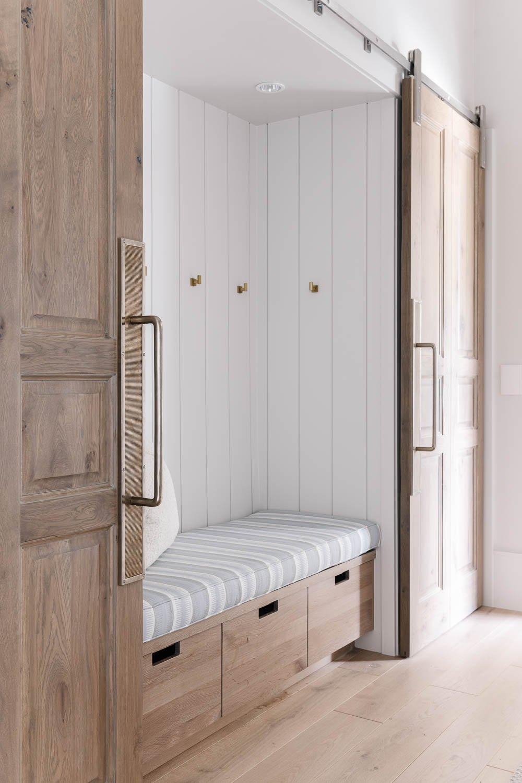 Closet reading nook with wood sliding doors