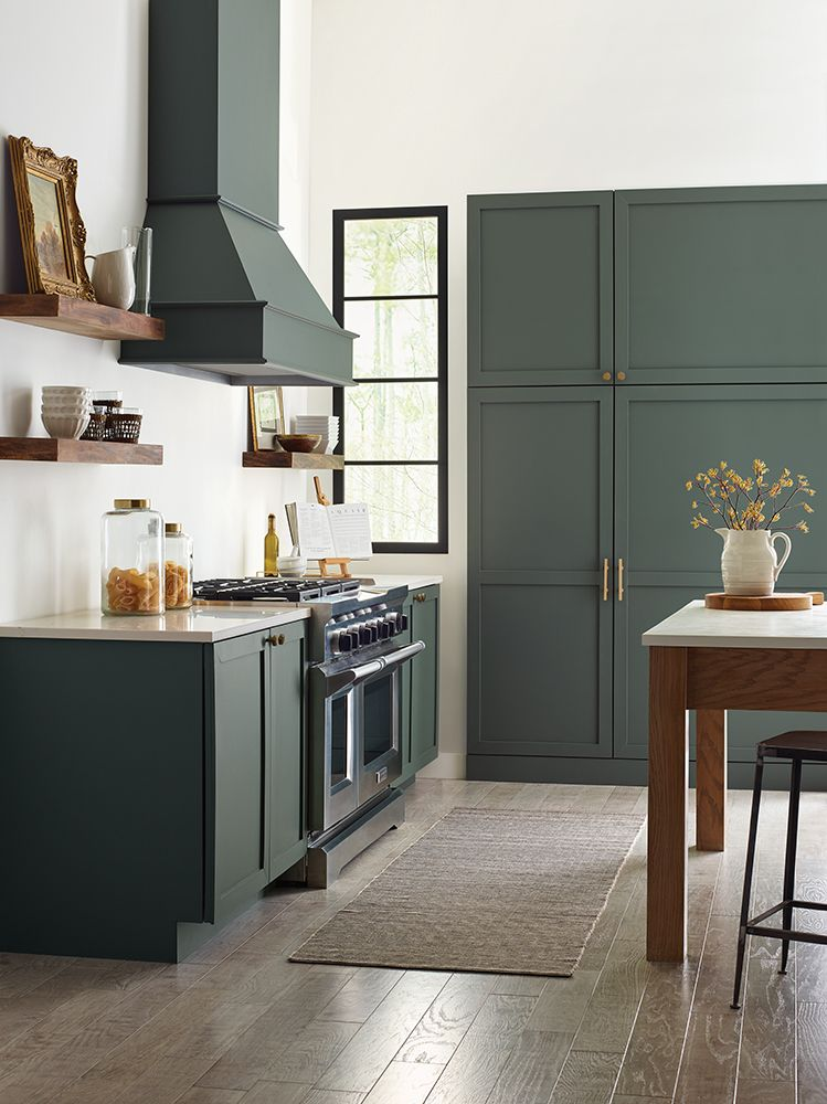 Cabinet color is Sherwin Williams Succulent