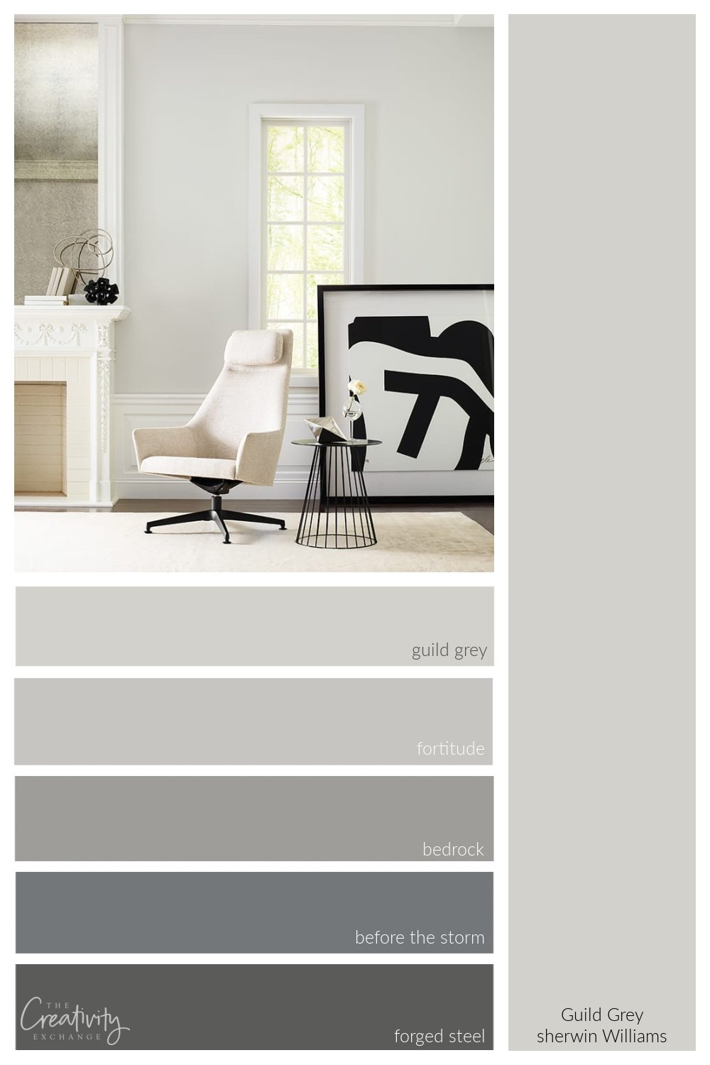 Sherwin Williams Guild Grey with color strip