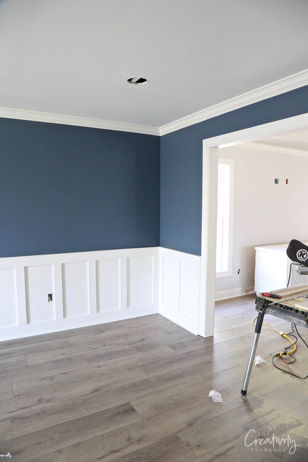 Wall color is Sherwin Williams Smokey Blue