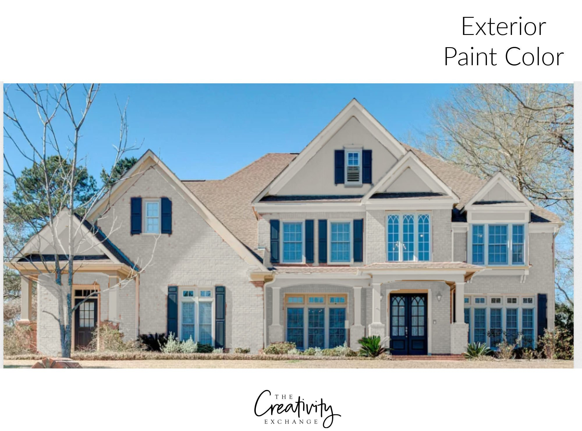Exterior Painted White Brick Two Story