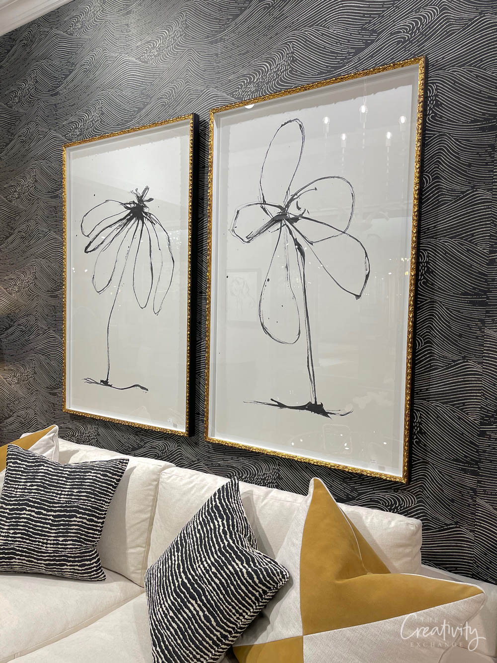 Black and White framed flower prints