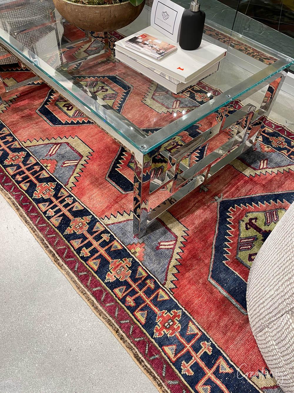 Vintage looking Coral and blue rug