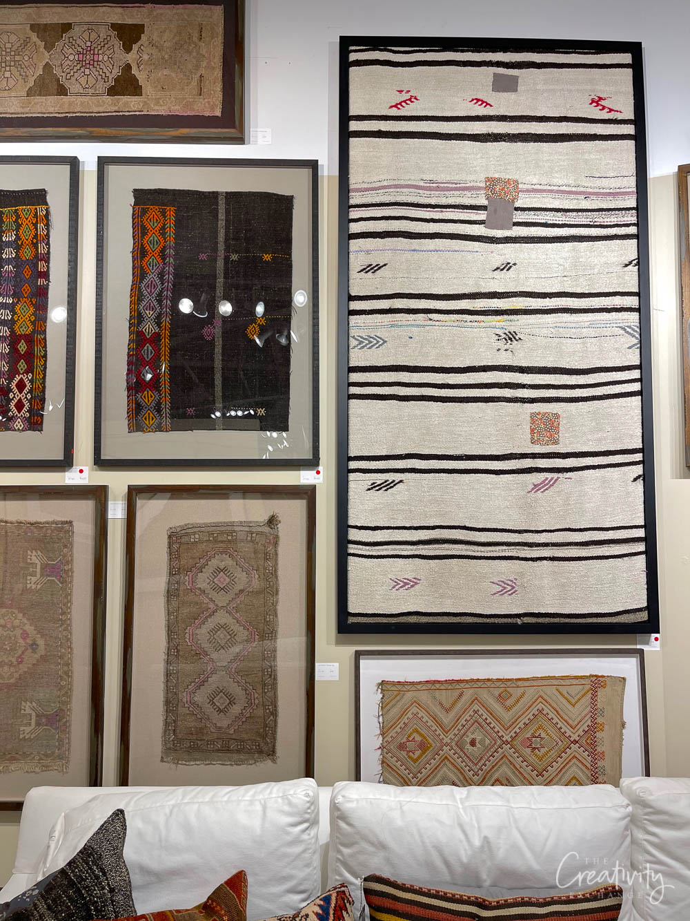 Rug and textile framed art at Loloi in Las Vegas Market