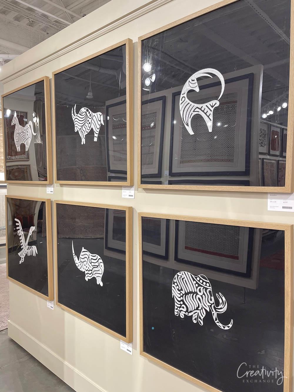 Framed black and white textiles