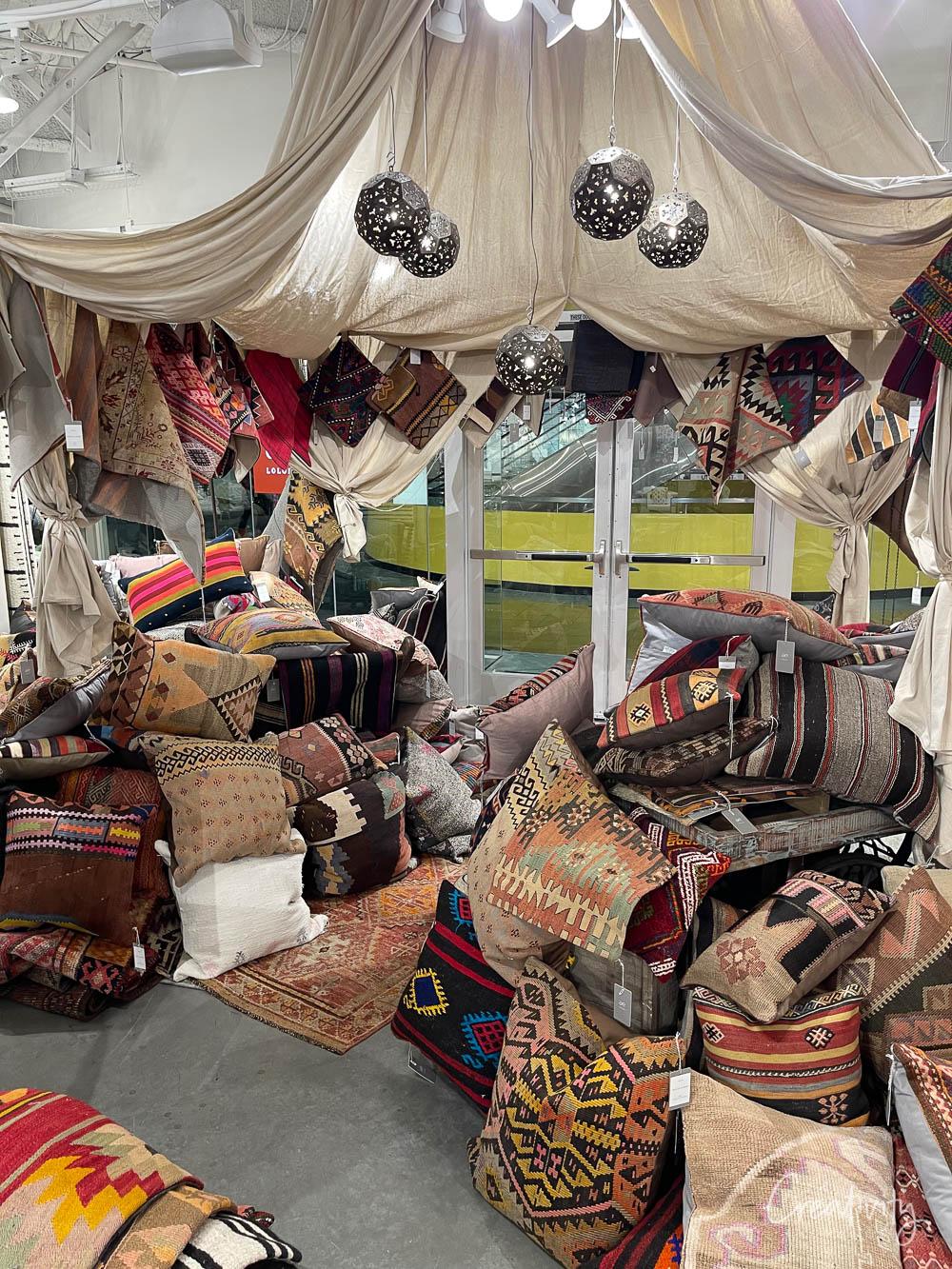 Vintage rug pillows at Loloi in Las Vegas