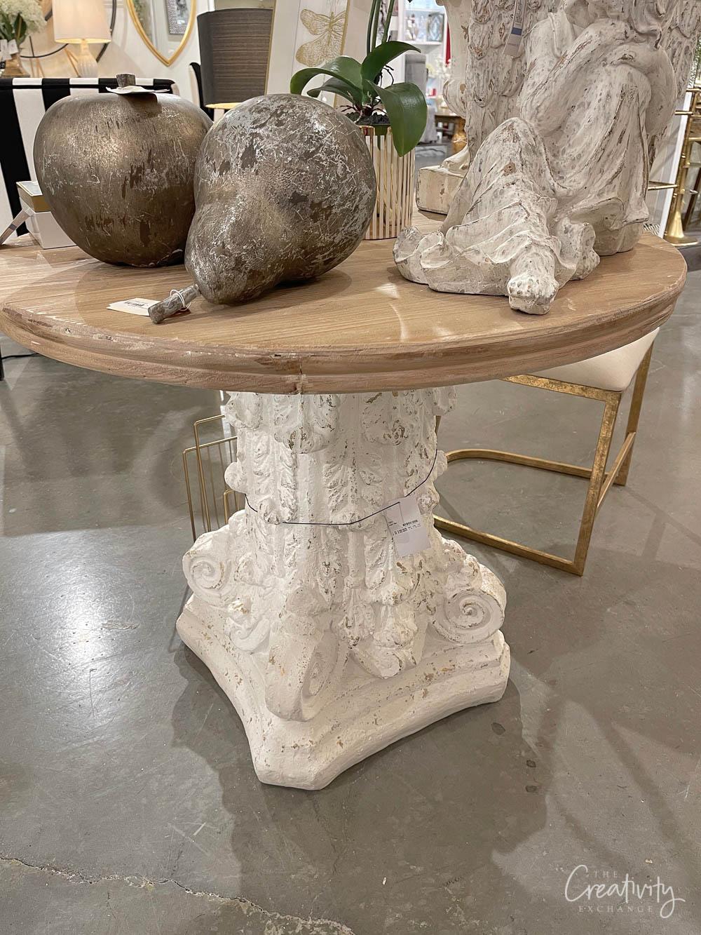 Concrete pillar wood top table