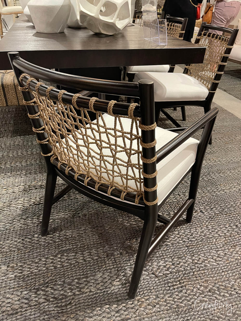 Jute woven black dining chair