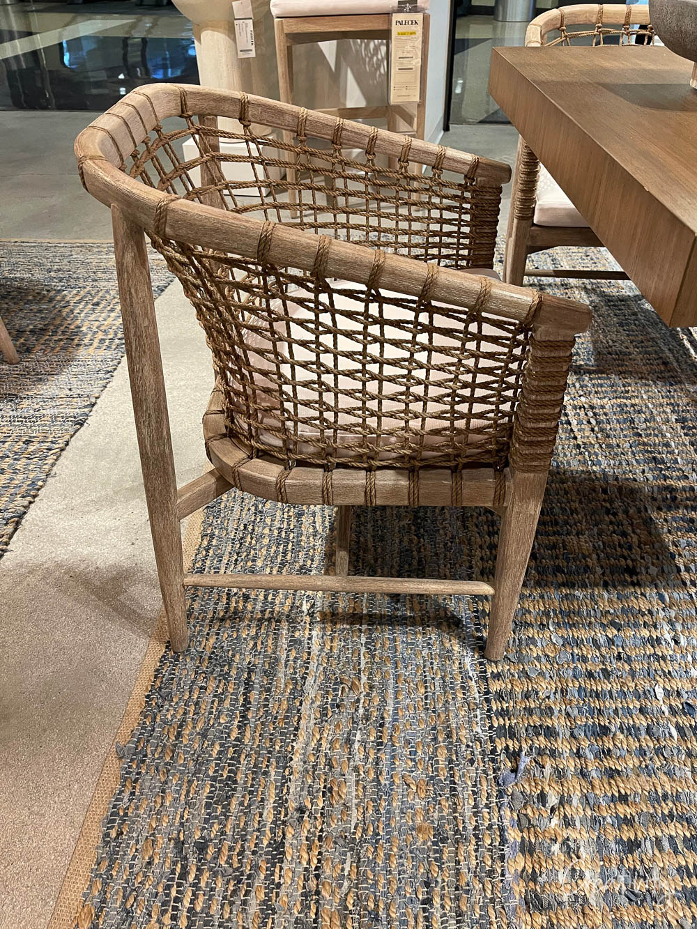 California Casual chair with woven jute.