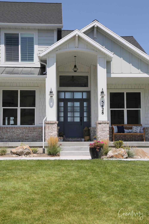 Eight pane wide glass panel front door