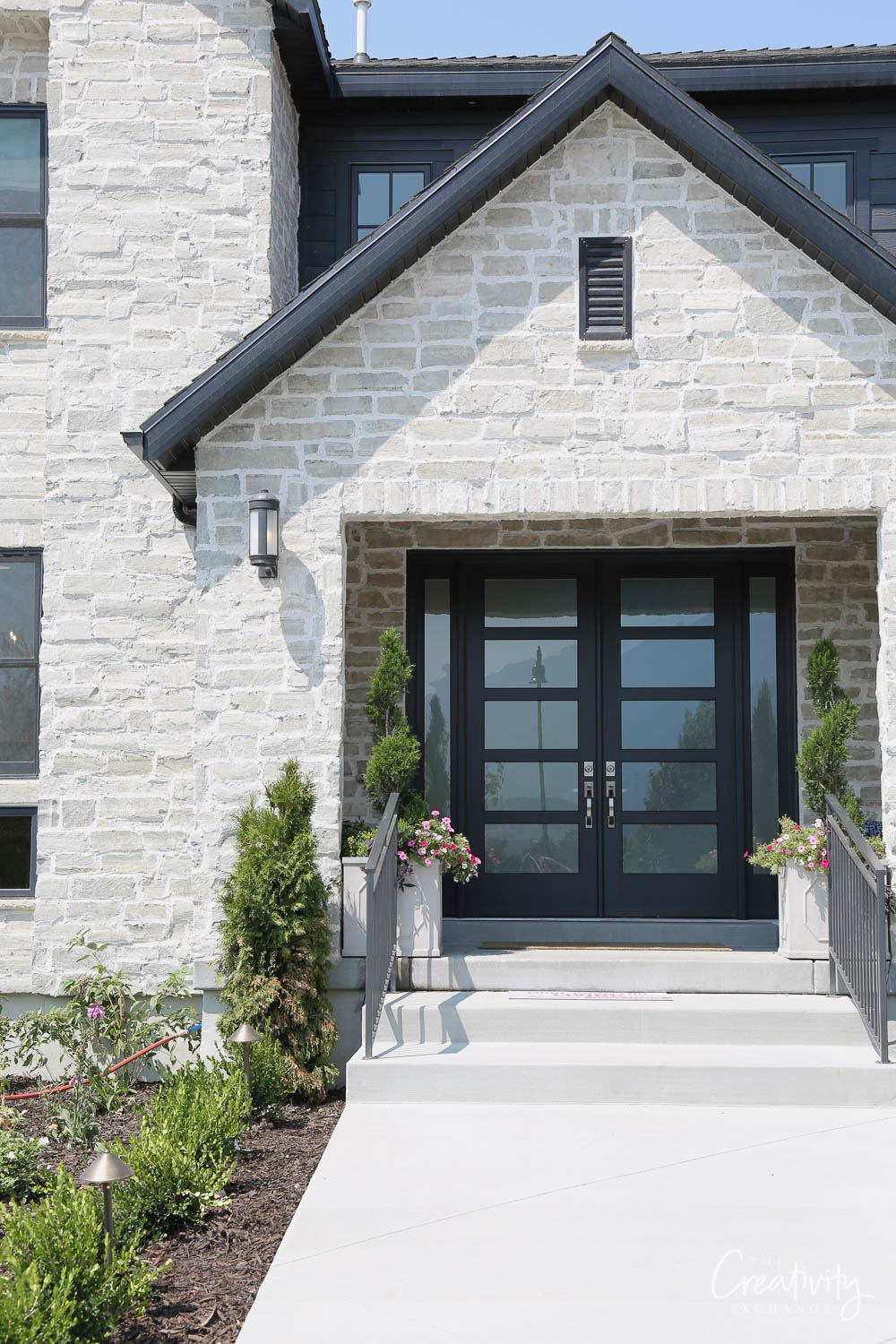Modern double glass doors with privacy glass