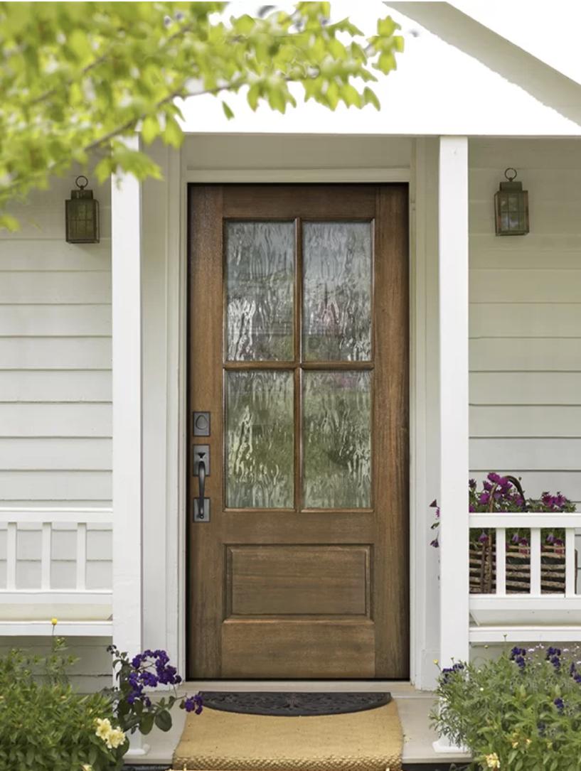 Mahogany Door with Glass Panels