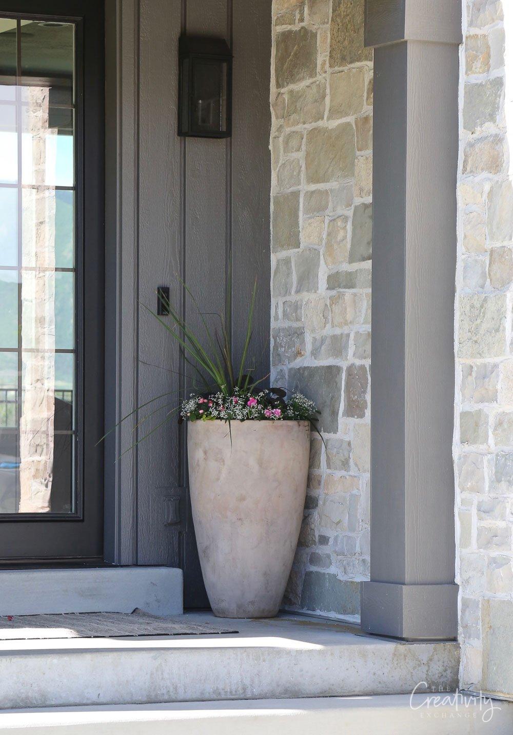 Planter on front porch exterior