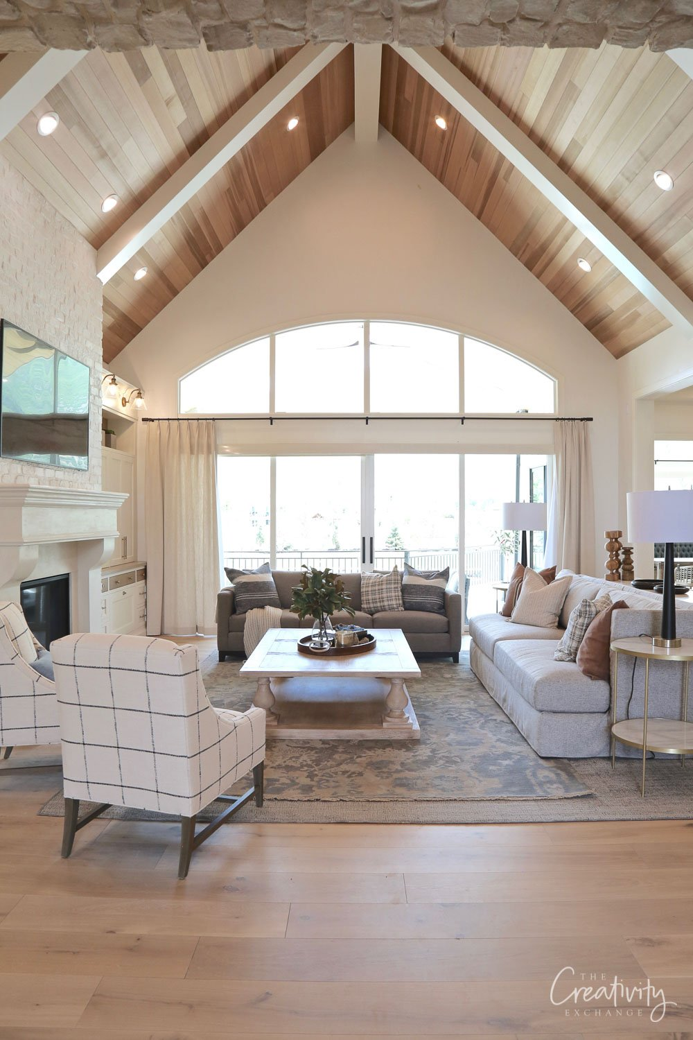 Wood Plank Living Room Cathedral ceiling
