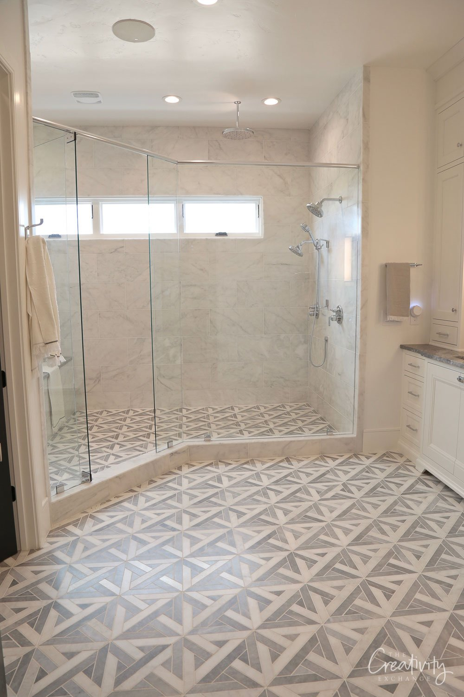 Patterned tile in primary bathroom