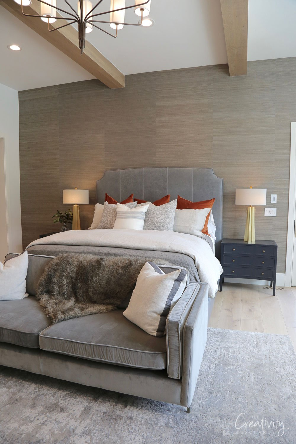 Master Bedroom with Grasscloth