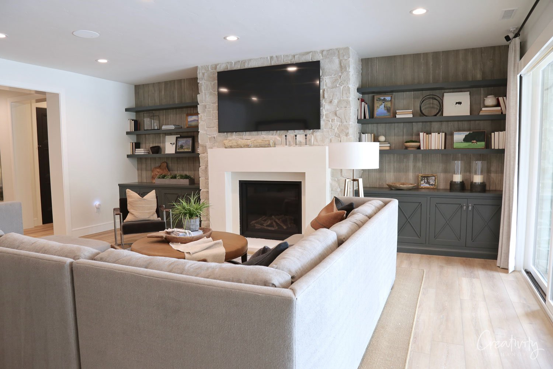 Family Room with Built-in bookshelves