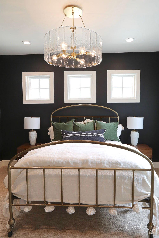 Black walls in bedroom