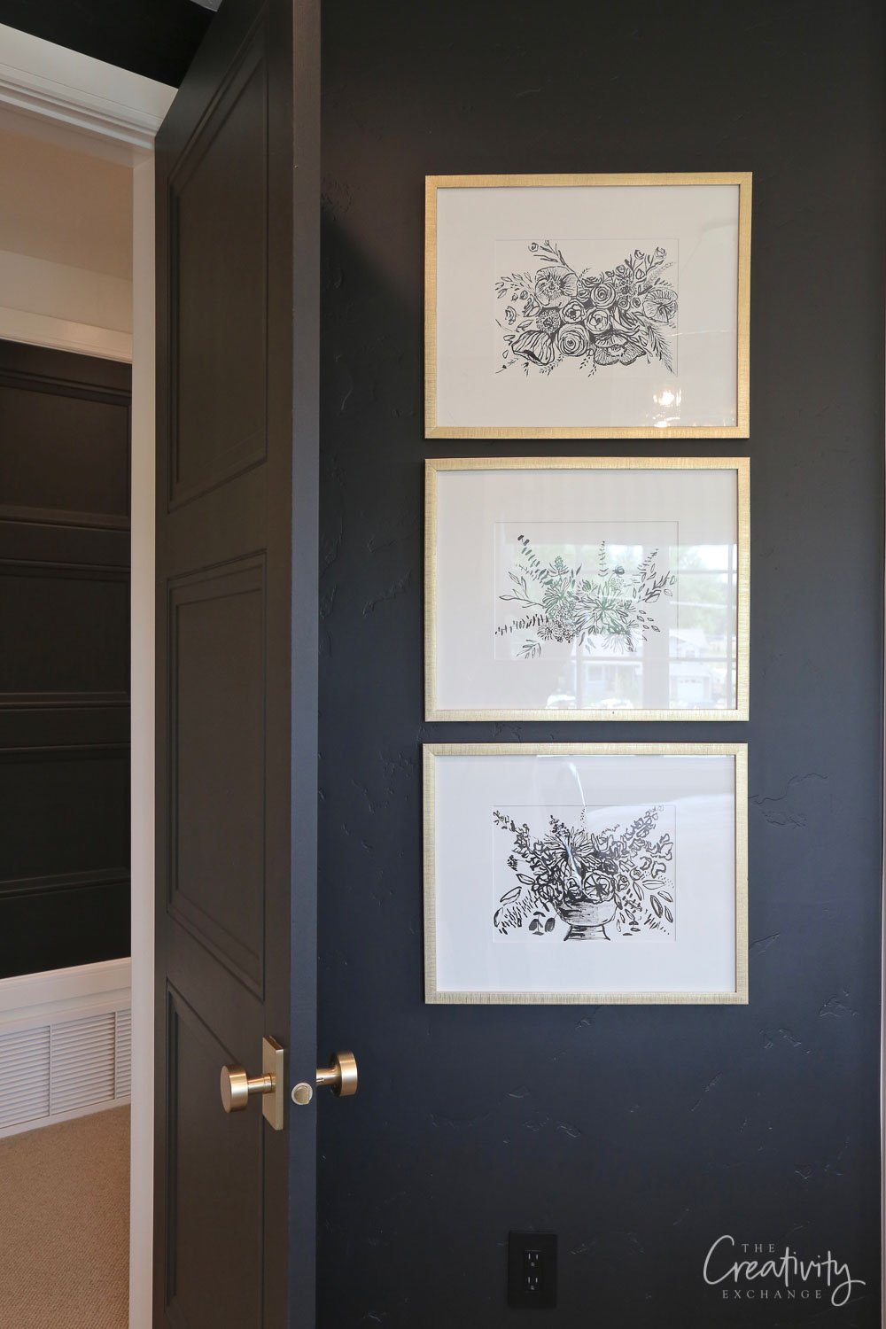 Wall color is Sherwin Williams Tricorn Black