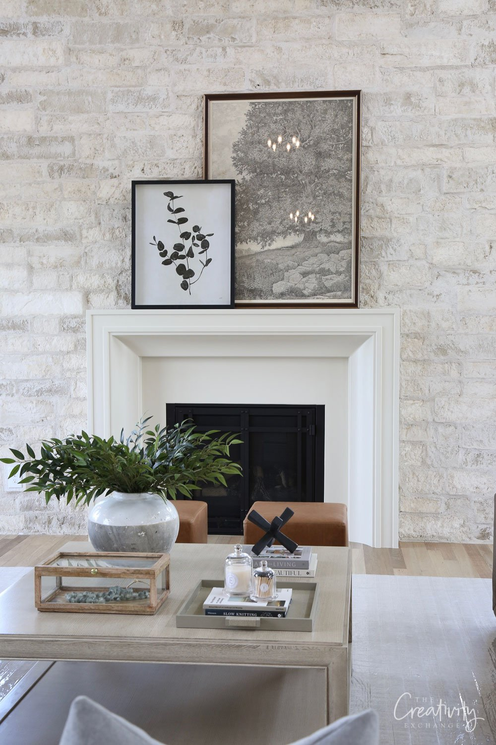 Thin stone with mortar wash on interior accent wall