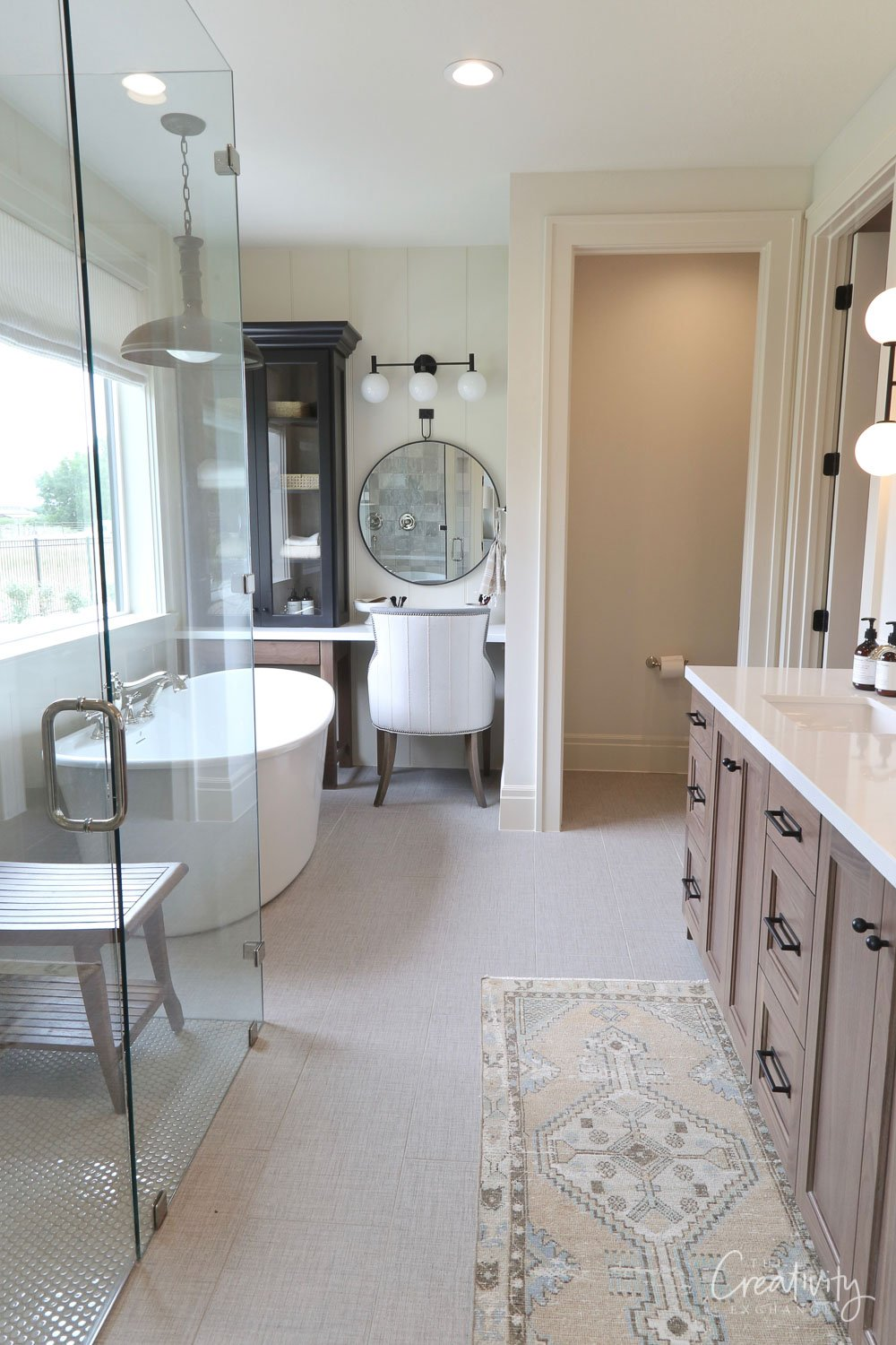 Bathroom wall color is Farrow and Ball Shadow White at 50%