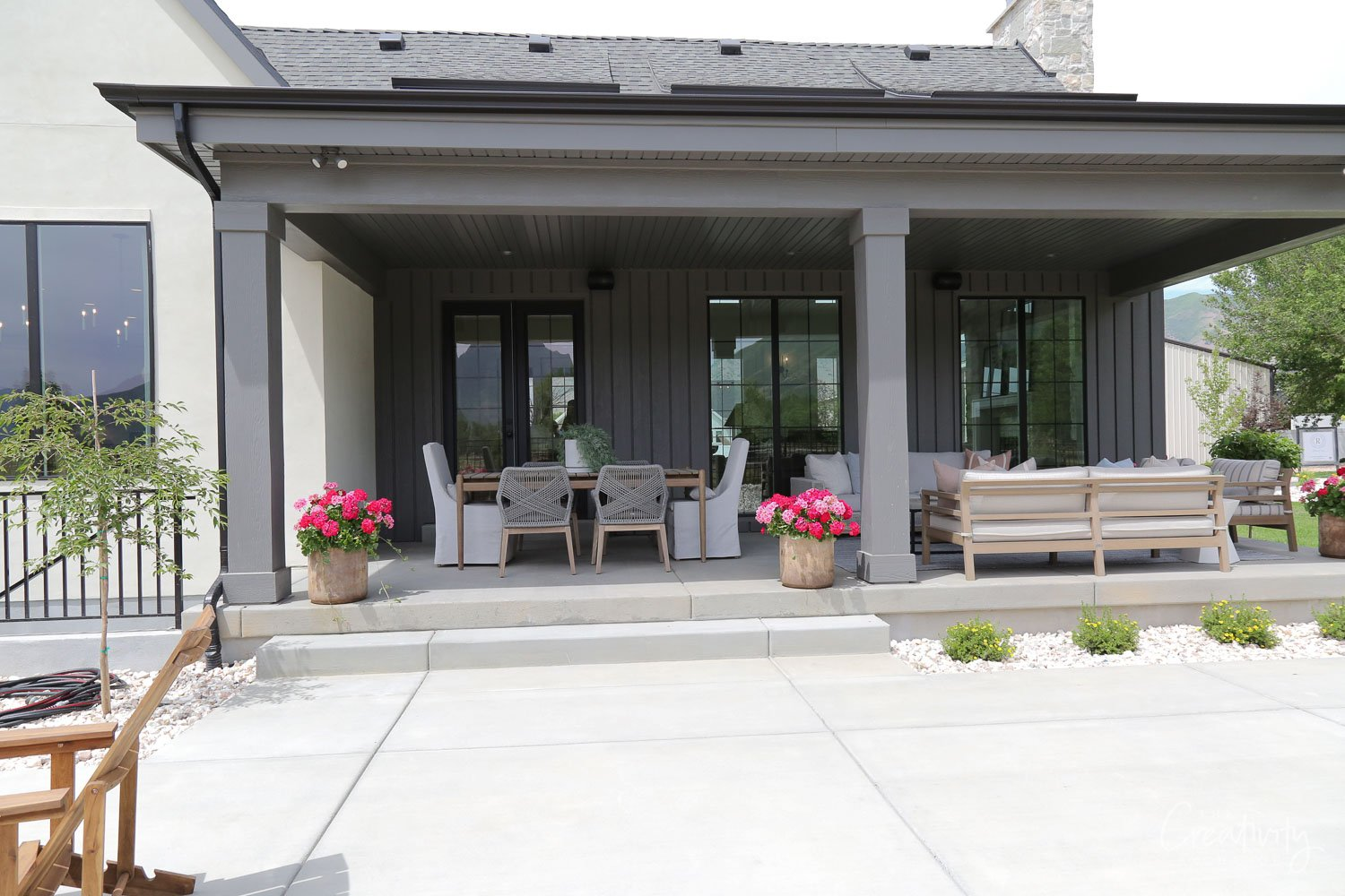 Dark painted outdoor back porch