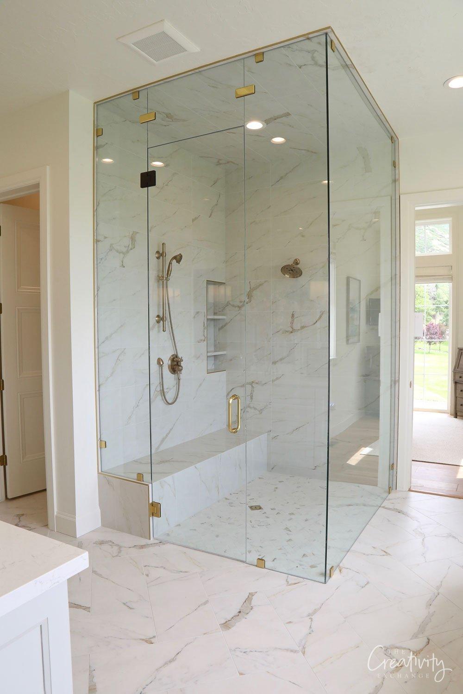 large primary bathroom shower
