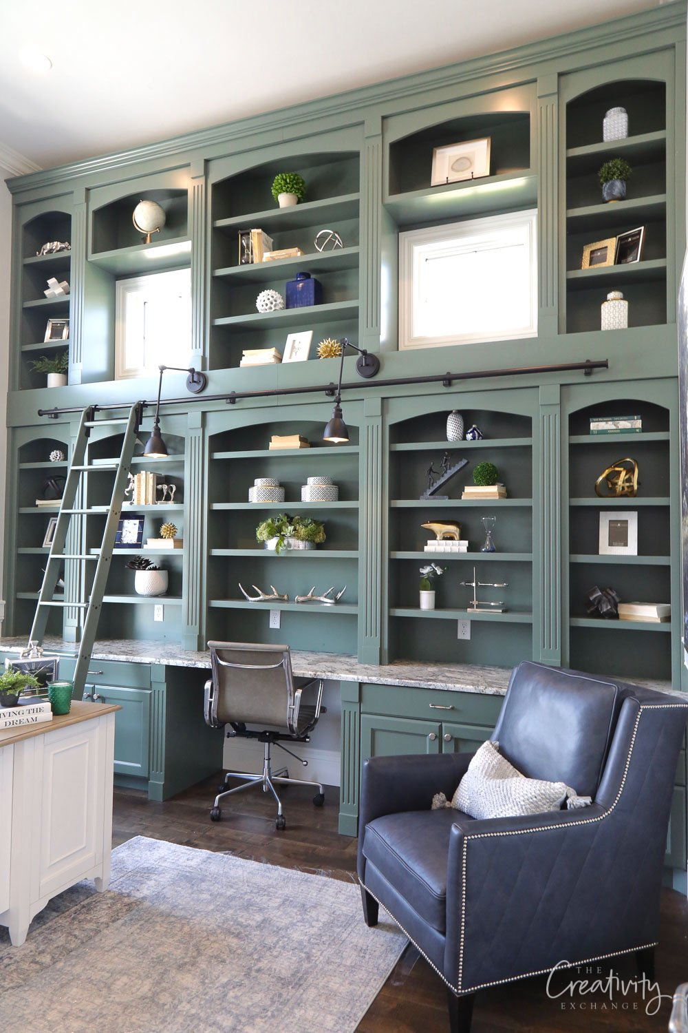 Cabinet Color is Benjamin Moore Enchanted Forest