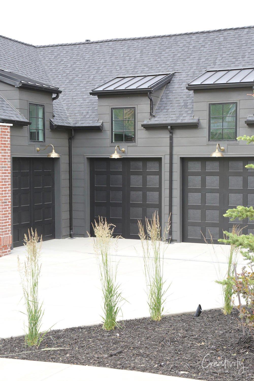 Charcoal garage doors and exterior trim