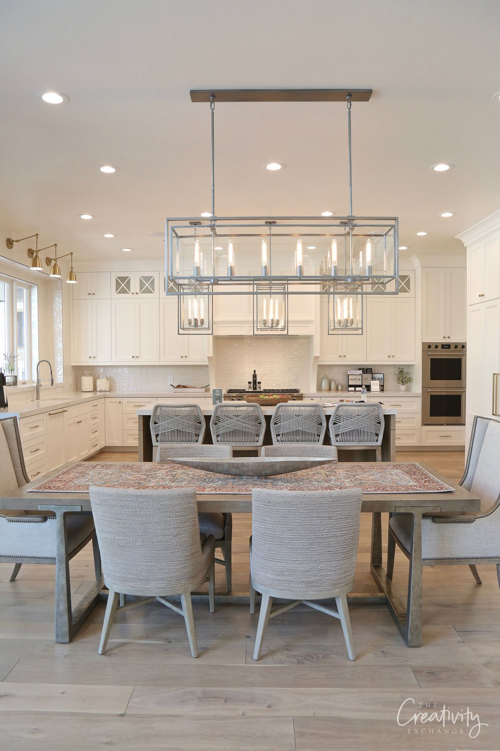 White kitchen mixed with french oak floors