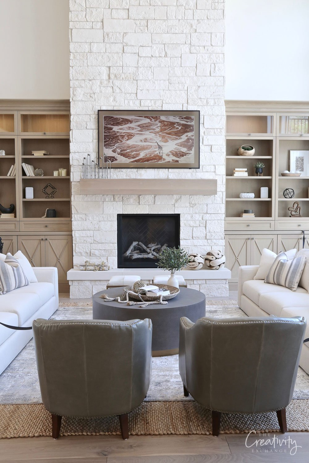 Living room painted with Benjamin Moore White Dove