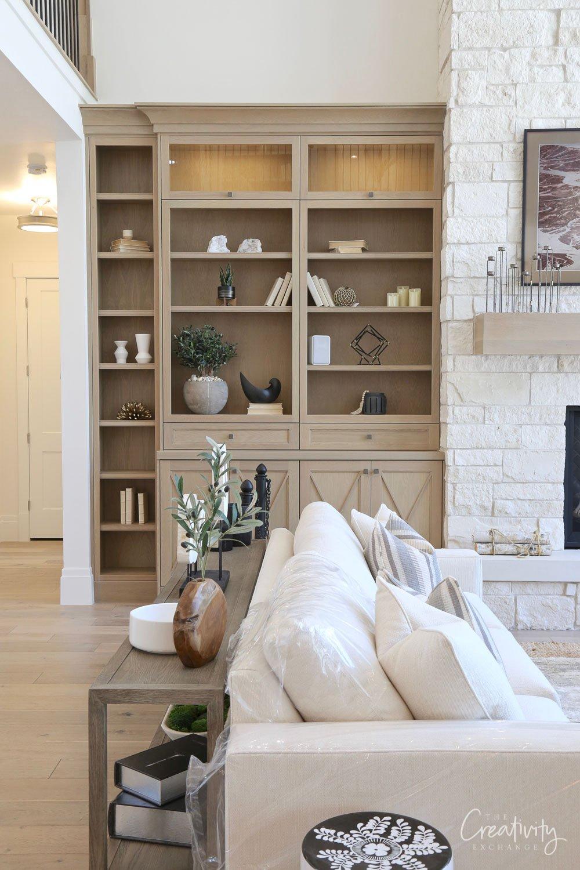 Light oak living room cabinetry