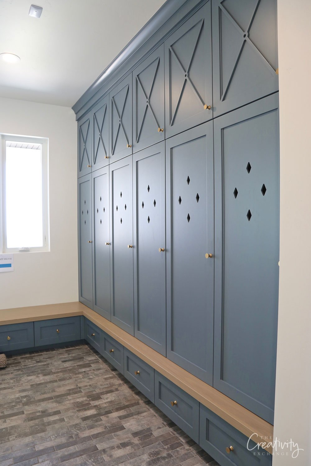 Cabinets painted with Benjamin Moore Providence Blue