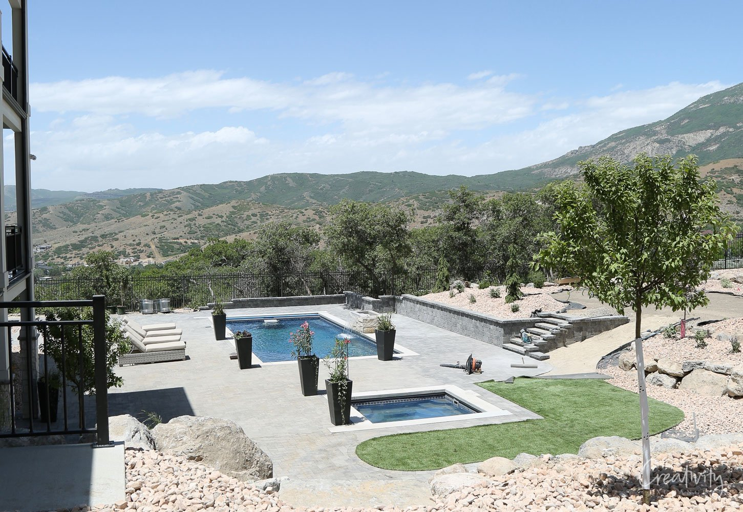 Backyard pool in the mountains