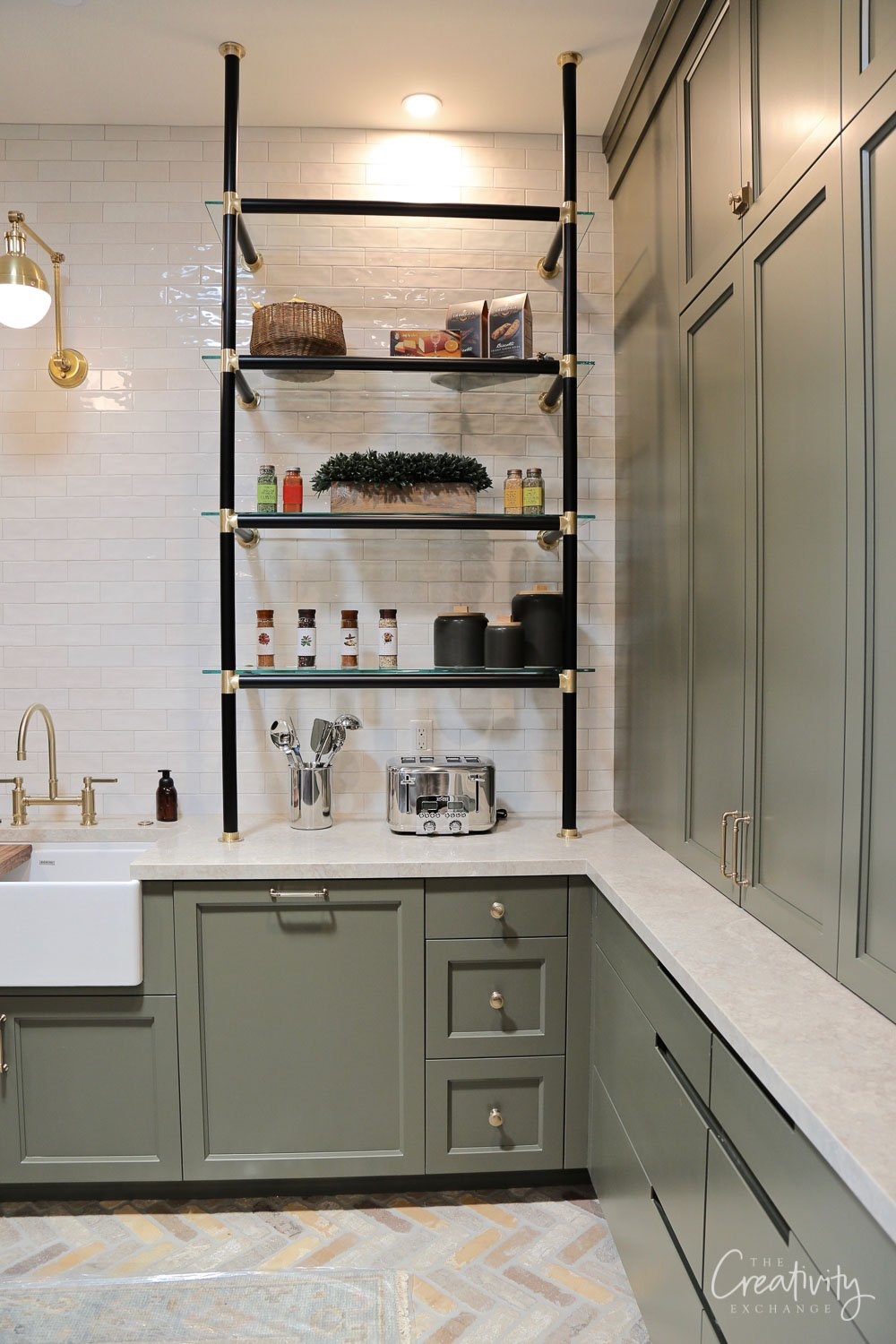 pantry with metal wall shelving