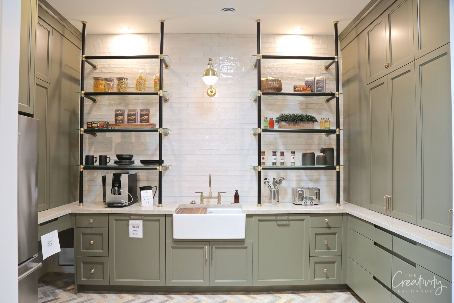 Pantry with built in metal shelves