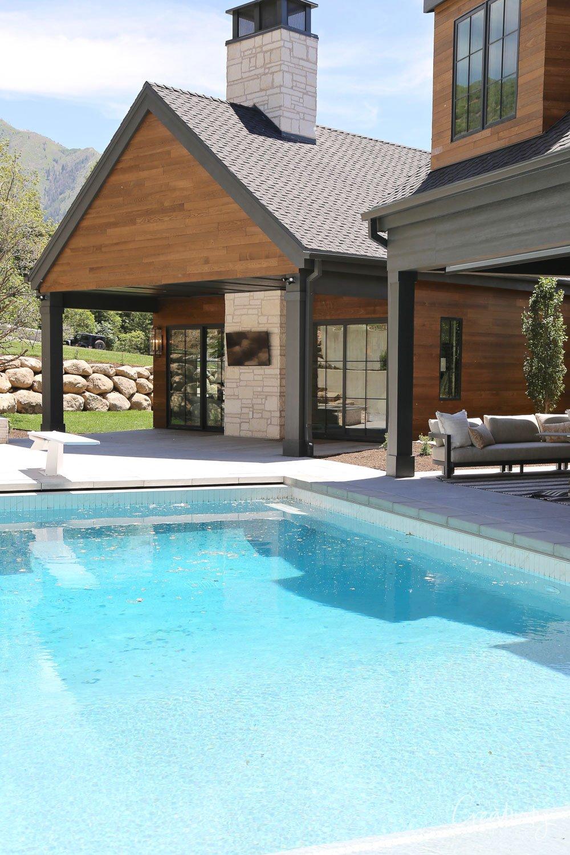 Home exterior back porch pool