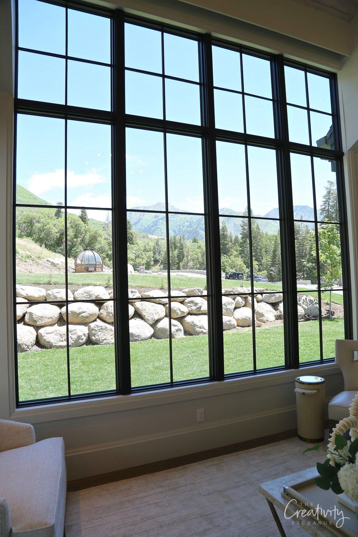 Modern black grid windows