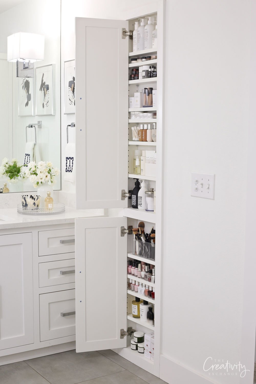 In between the stud bathroom beauty product storage