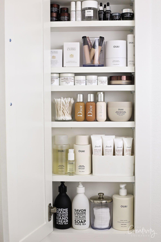In between the stud bathroom storage cabinet